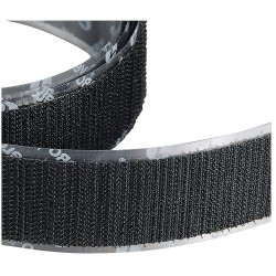 Velcro Industries - 120159 - Hook-Type Reclosable Fastener Strap with Rubber Adhesive, Black, 1 x 75 ft., 1EA