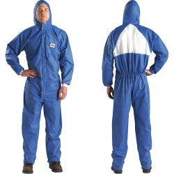 3M - 4530-BLK-XL - Hooded Disposable Coveralls with Knit Cuff, Blue/White, XL, SMMS
