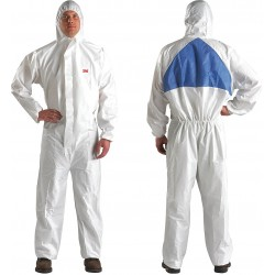 3M - 4540+BLK-M - Hooded Disposable Coveralls with Knit Cuff, White/Blue, M, Microporous Laminate/SMMMS