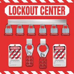 Accuform Signs - KST814 - Accuform Signs 14 X 14 0.063 Aluminum Lockout Center Store Board Kit Includes (6) Padlocks, (10) Lockout Tags, (10) Plastic Ties And (2) Scissor Hasp, ( Each )