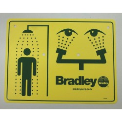 Bradley - 114-052 - Combination Sign, Plastic, For Use With Bradley Safety Showers