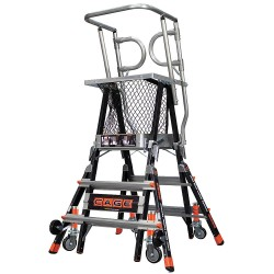 Little Giant - 18503-240 - Fiberglass Safety Cage Platform Ladder, 3 to 5 ft. Ladder Height, 3 to 5 ft. Platform Height