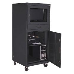 Sandusky Lee - 16CC303064-09 - 30 x 30 x 70 16 ga. Steel Mobile Computer Cabinet, Black