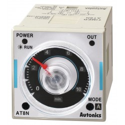Autonics - AT8N-2 - Time Delay Relay, 24VAC/DC Coil Volts, 5A Contact Amp Rating (Resistive), Contact Form: DPDT