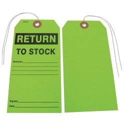 Badger Tag & Label - 115 - Paper Return to Stock Remarks___Signed___Date___ Return to Stock Tag, 5-3/4 Height, 2-7/8 Width