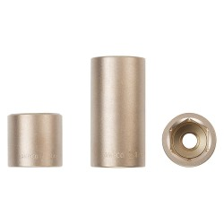 "Ampco Safety Tools - SS-1/4D7MM - 7mm Aluminum Bronze Socket with 1/4"" Drive Size and Natural Finish"