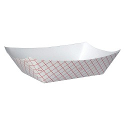 Dixie - RP3008 - Paper Disposable Food Tray with 3 lb. Weight Capacity, Red/White; PK500