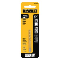 Dewalt - DW1306 - Drill Bits, Split Point, Titanium, 3/32 in.