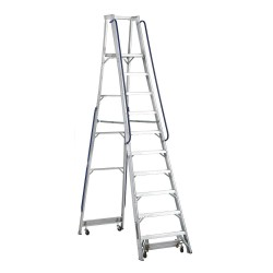 "Louisville Ladder - AP5010 - Aluminum Platform Stepladder, 11 ft. 5"" Ladder Height, 9 ft. 6"" Platform Height, 300 lb."