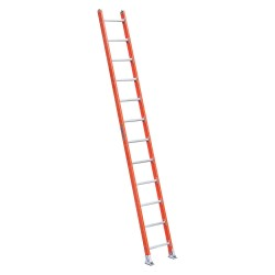 Louisville Ladder - FE7112 - Fiberglass Straight Ladder, 12 ft. Ladder Height, 18-1/2 Overall Width, 300 lb. Load Capacity