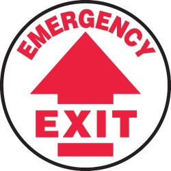 Accuform Signs - MFS701 - Accuform Signs 17 Diameter Red And White 4 mils Adhesive Vinyl Slip-Gard Admittance And Exit Floor Sign EMERGENCY EXIT, ( Each )