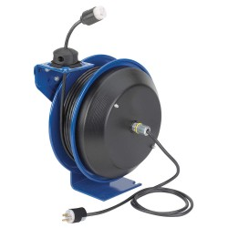 Coxreels / Coxwells - PC13-5016-A - Retractable Cord Reel, 13 Max. Amps, Cord Ending: Single Industrial Connector, 50 ft. Cord Length