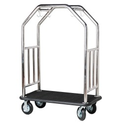 Hospitality 1 - ESSSBB-8 - 71 Steel Bellman Cart with Black Carpet and Polished Finish