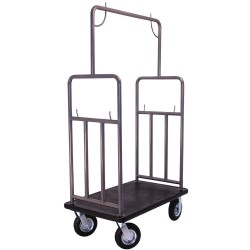Hospitality 1 - CF107BS-RMBL - 71 Steel Bellman Cart with Black Carpet and Brushed Finish