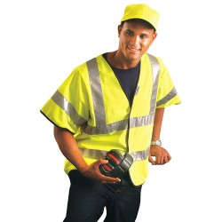 Occunomix - LUX-HSFULLG-YXL - OccuNomix X-Large Yellow Premium Light Weight Solid Polyester Tricot Class 3 Dual Stripe Short Sleeve Traffic Vest With Front Hook And Loop Closure And 3M Scotchlite 2' Reflective Tape, ( Each )