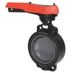 GF Piping Systems - 161567007 - Wafer-Style Butterfly Valve, PVC, 150 psi, 6 Pipe Size