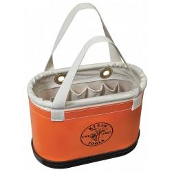 Klein Tools - 5144BHHB - Tool Storage Bucket, Orange Plastic Exterior, Canvas Interior, Polypropylene Bottom