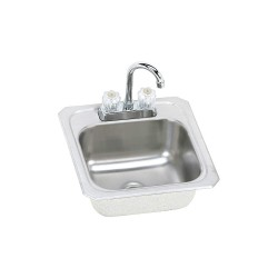Elkay - BCRA150C - Type 304 Stainless Top Mount Sink Kit With Faucet, 12 x 10 Bowl Size