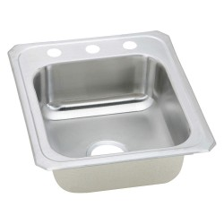 Elkay - CR17213 - Type 304 Stainless Top Mount Kitchen Sink Without Faucet, 14 x 15-3/4 Bowl Size