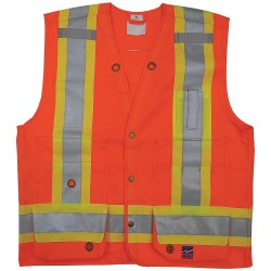 Viking - 6165O-XXXL - Surveyor Vest, Mens, ANSI CLASS 2, Org, 3XL
