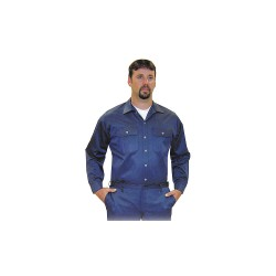 Steel Grip - NBV8 9575 - Navy Flame-Resistant Collared Shirt, Size: S, Fits Chest Size: 36 to 37, 8.1 cal./cm2 ATPV Rating