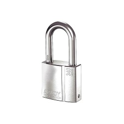 Abloy Security - PL340/50B-KD - 2-5/64H Different-Keyed Padlock, Shackle Type: Open 2H x 3/8, Silver