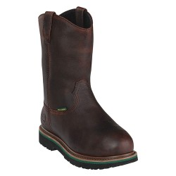 John Deere - JD4373 - 11H Men's Wellington Boots, Steel Toe Type, Leather Upper Material, Brown, Size 16M