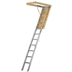 Louisville Ladder - AA2510 - Attic Ladder, Aluminum, 375 lb. Load Capacity, 7 ft. 11 to 10 ft. 3 Ceiling Height Range