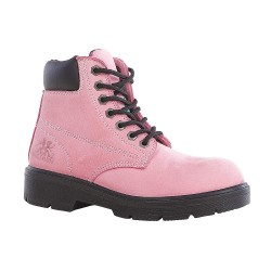 Moxie Trades - 50162 - 6H Women's Work Boots, Steel Toe Type, Nubuck Leather Upper Material, Pink, Size 5D