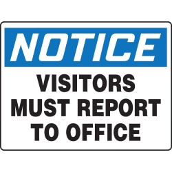 Accuform Signs - MADC835VP - Employees and Visitors, Notice, Plastic, 24 x 36, With Mounting Holes, Not Retroreflective