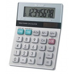 Sharp - EL310TB - Sharp Calculators EL310TB Mini Desktop Display Calculator - 8 Digits - LCD - Battery/Solar Powered - 3.5 x 4.7 x 1.1 - White, Green - 1 Each