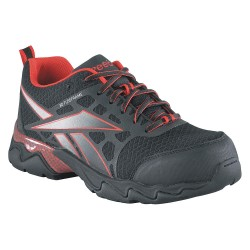 Reebok - RB1061-6.5M - 3H Men's Athletic Style Work Shoes, Composite Toe Type, Mesh Upper Material, Black/Red, Size 6-1/2M