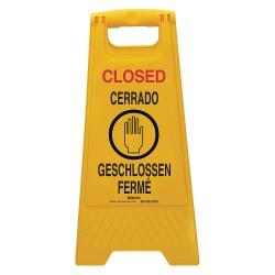 Brady - 104811 - Brady 24 1/2 Black/Red On Yellow Polypropylene Floor Safety Sign CERRADO GESCHLOSSEN FERME, ( Each )
