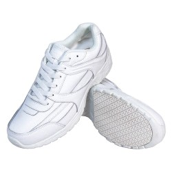 Genuine Grip - 1115-5.5M - 4H Women's Athletic Shoes, Plain Toe Type, Leather Upper Material, White, Size 5-1/2