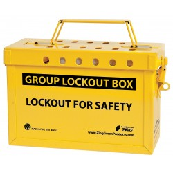 Zing Enterprises - 6061 - Yellow Stainless Steel Group Lockout Box, Max. Number of Padlocks: 13, 6-1/4 x 9
