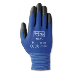 Ansell-Edmont - 11-618 - 18 Gauge Smooth Polyurethane Coated Gloves, Glove Size: 6, Blue/Black