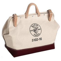 "Klein Tools - 5102-22 - 1-Pocket Canvas General Purpose Wide-Mouth Tool Bag, 15""H x 22""W x 6""D, White"