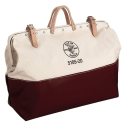 "Klein Tools - 510520 - Canvas Wide-Mouth Tool Bag, 20"" Width, Number of Pockets: 1, Maroon/Tan"