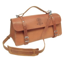 "Klein Tools - 510818 - Leather Wide-Mouth Tool Bag, 18"" Width, Number of Pockets: 1, Brown"