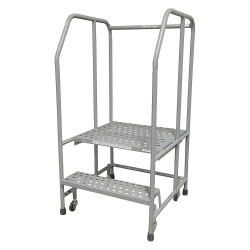 Cotterman - 1002R2626A6E20B3C1P6 - 2-Step Rolling Ladder, Perforated Step Tread, 50 Overall Height, 450 lb. Load Capacity
