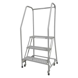 Cotterman - 1003R2630A6E10B3C1P6 - 3-Step Rolling Ladder, Perforated Step Tread, 60 Overall Height, 450 lb. Load Capacity