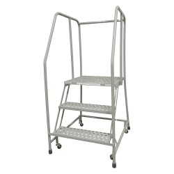 Cotterman - 1003R2630A6E20B3C1P6 - 3-Step Rolling Ladder, Perforated Step Tread, 60 Overall Height, 450 lb. Load Capacity
