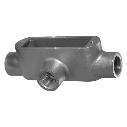 Calbrite - S64000TE00 - T-Style 4 Conduit Outlet Body with Cover, Threaded Stainless Steel, 382.0 cu. in.