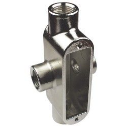 Calbrite - S60500XB00 - XB-Style 1/2 Conduit Outlet Body with Cover, Threaded Stainless Steel, 5.0 cu. in.