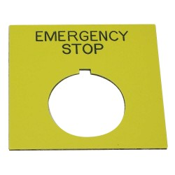 Electro-Matic - 09020-004 - 30mm Square Emergency Stop Legend Plate, Plastic, Yellow