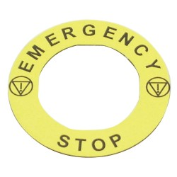 Electro-Matic - 09022-004 - 22mm Round Emergency Stop Legend Plate, Plastic, Yellow