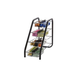 OfficeMate - 28005 - BreakCentral Vertical Condiment Tray - 8 Compartment(s) - 15.8 Height x 7.6 Width x 18.4 Depth - Counter - Black, Clear - Metal - 1Each