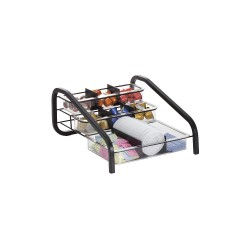 OfficeMate - 28006 - BreakCentral Wide Condiment Organizer - 9 Compartment(s) - 8 Height x 13.5 Width x 17 Depth - Counter - Black, Clear - Metal - 1Each