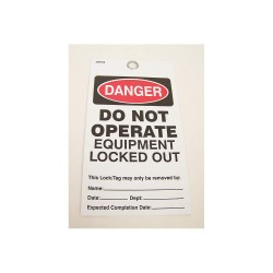 Badger Tag & Label - 121 - Danger Do Not Operate Tag, Vinyl, Do Not Operate Equipment Locked Out, 5-3/4 x 3-9/64, 25 PK