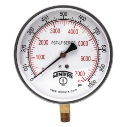Winters Instruments - PCT293LF - Gauge, Pressure, 4-1/2in., 0 to 1000 psi